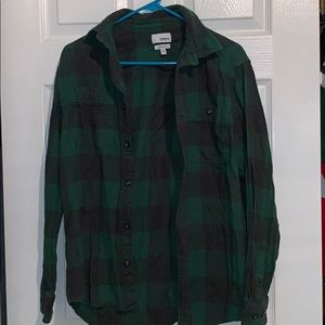 green and grey button down flannel